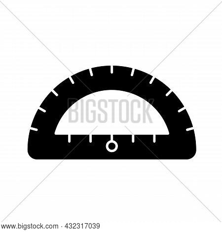 Protractor Black Glyph Icon. Instrument For Constructing, Measuring Angles. Simple Half-disc. Drafti