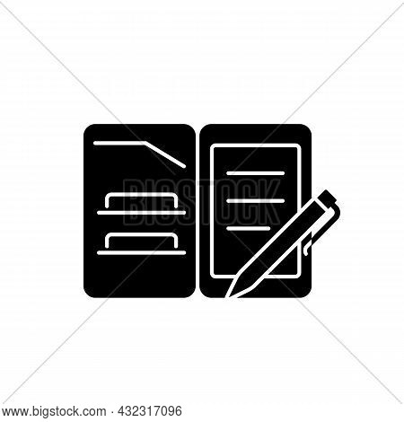 Portfolio Folder Black Glyph Icon. Keeping Paper Documents Safely. Carrying Papers And Drawings In C