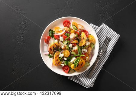 Tuscan Panzanella With Tomatoes And Bread. Top View.