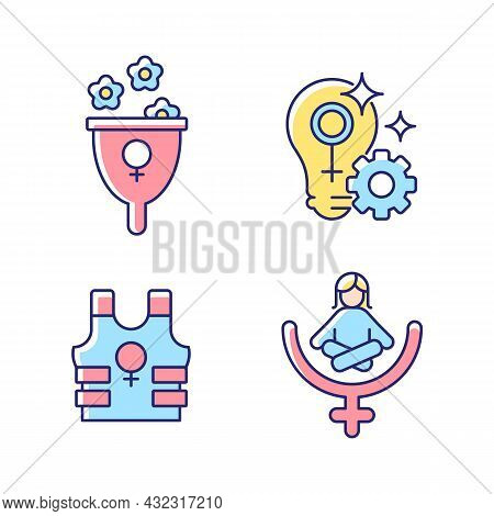 Modern Feminism Rgb Color Icons Set. Support Women Wellbeing. Fulfill Female Potential. Promoting Sa