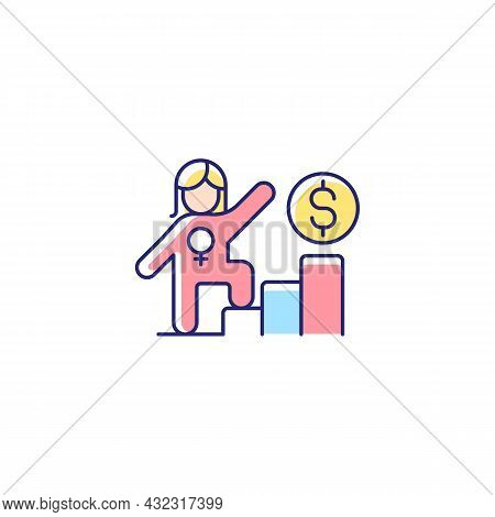 Career Ladder For Women Rgb Color Icon. Successful Woman In Workplace. Gender Equality In Salary. Fe