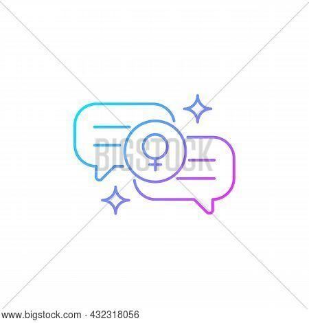 Female Bonding Gradient Linear Vector Icon. Supportive Sisterhood. Strength For Feminine Gender. Sup