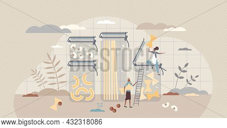 Food Storage And Glass Jars For Groceries And Fresh Food Tiny Person Concept. Kitchen Containers And