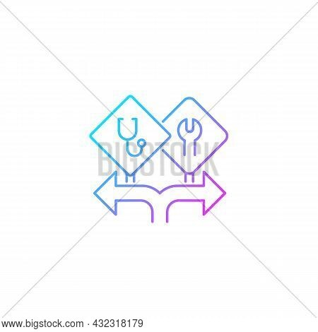 Freedom Of Choice Gradient Linear Vector Icon. Career Option For Girls. Female Empowerment. High-pot