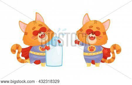 Ginger Whiskered Cat In Red Superhero Cloak Standing With Milk Bottle Vector Set