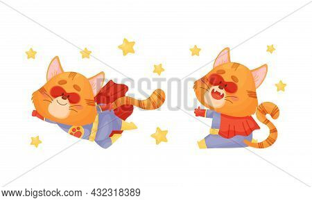 Ginger Whiskered Cat In Red Superhero Cloak Sitting And Flying Vector Set