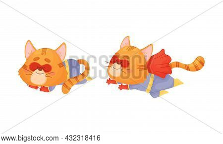 Ginger Whiskered Cat In Red Superhero Cloak Rushing To Rescue And Sleeping Vector Set