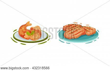 Cooked Chicken Dish With Fried Thigh And Grilled Fillet Vector Set
