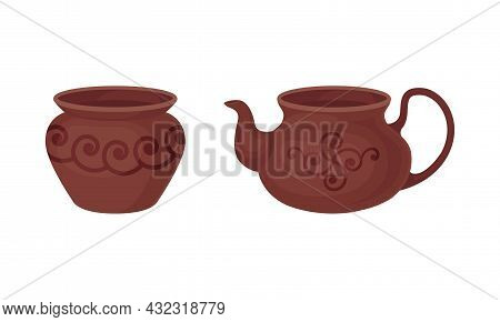 Clay Kitchenware And Ceramic Vessel With Pot And Tea Kettle Vector Set