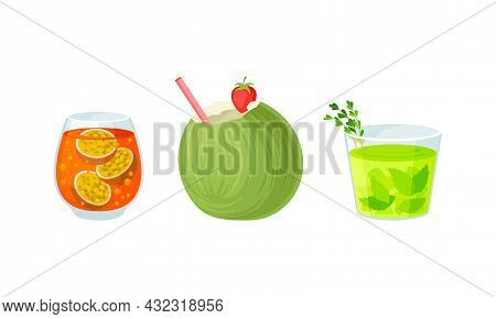 Bright Exotic Cocktail In Glass As Tropical Refreshing Drink Vector Set