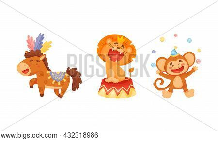 Circus Monkey And Lion Animal Roaring And Juggling Balls Performing Trick Vector Set