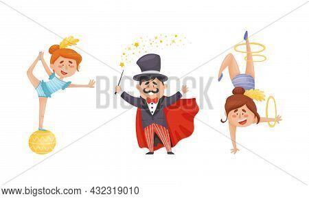 Man Magician In Top Hat And Woman Gymnast As Circus Artist Character Performing On Stage Or Arena Ve