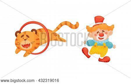 Circus Tiger Animal Jumping Through Circle And Clown Performing Trick Vector Set