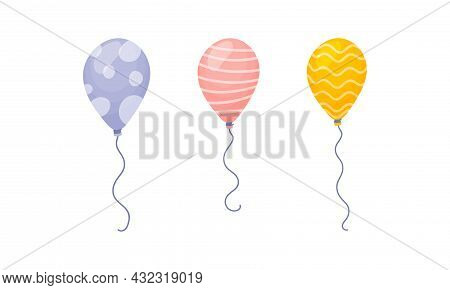 Light Inflated Toy Balloon With Thin Rope Vector Set
