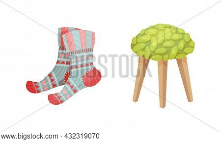 Warm Knitted Socks And Stool As Hygge And Coziness And Comfortable Symbol Vector Set