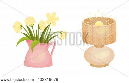 Fresh Flowers In Vase And Lamp As Hygge And Coziness And Comfortable Symbol Vector Set