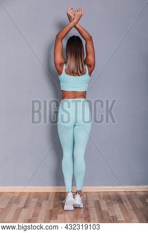 Sexy Cute Curly Blonde Girl With Beautiful Skin, Posing In Studio. Wearing Stylish Blue Summer Costu