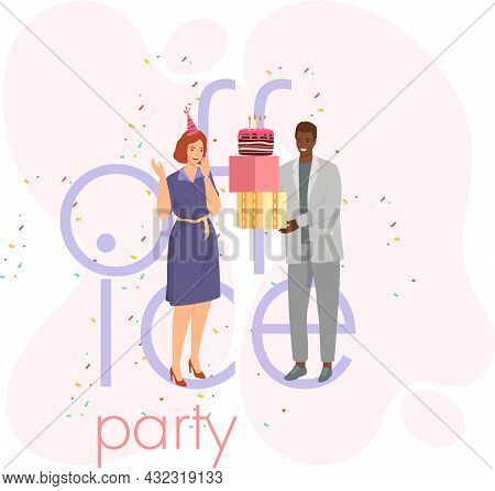 Birthday Party In Office Flat Festive Banner. Workers Organize Holiday, Congratulate Associate. Inte
