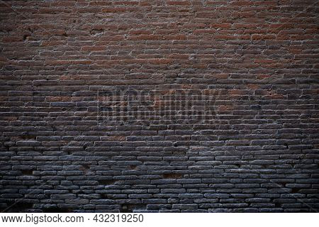 Antique Weathered Wall View. Old Brick Stone Texture. Background With Space For Text.
