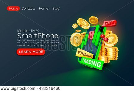 Mobile Financial Trading Service, Financial Payment Smartphone Mobile Screen, Technology Mobile Disp