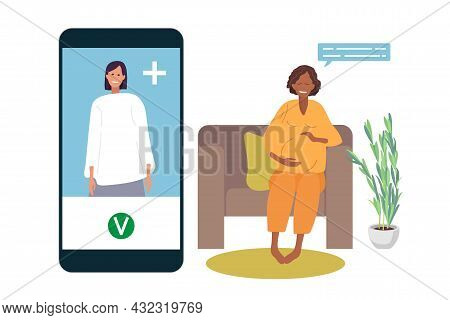 Online Psychotherapy. Doctor Advises Pregnant Woman By Phone. Smiling Pregnant African-american Woma
