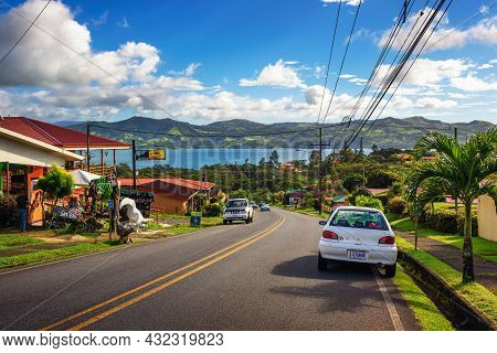 Lake Arenal, Costa Rica - January 15, 2020 : Drive Towards Lake Arenal Through The Villages Of Costa