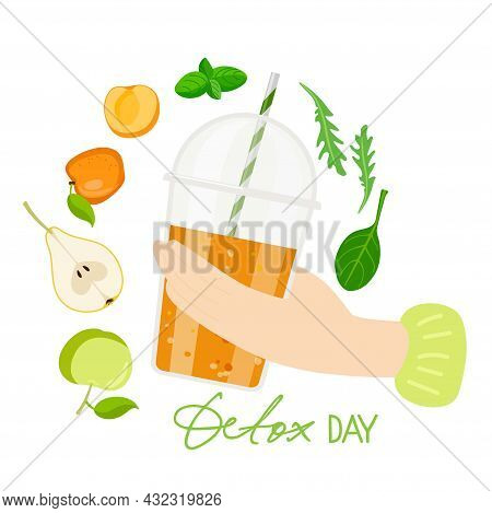 Hand Holds Smoothie Cup. Detox Day Text With Smoothie Cup And Ingredients. Plastic Takeaway Cup With