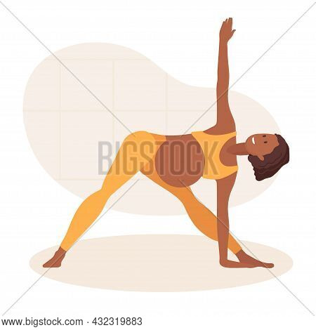 Pregnant African American Woman Doing Yoga At Home. Woman In Sportswear Makes Triangle Pose. Lady Ha