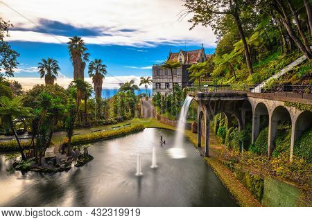 Funchal, Madeira, Portugal - January 06, 2021 : Fountain And Artificial Waterfall In The Monte Palac