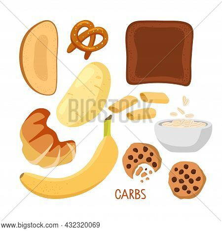 Food Macronutrients. Rich In Carbs Food Set. High Carbs Food Isolated On White. Carbohydrate Diet Po