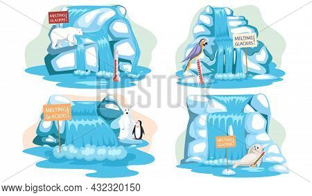 Set Of Illustrations About Impact Of Global Warming On Animals. Melting Glaciers And Climate Change