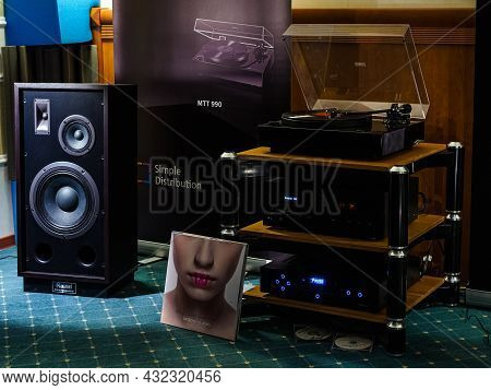 Moscow, Russia - May 23, 2021: Magnat Audio Equipment In The Dark Room Of The Borodino Hotel At The