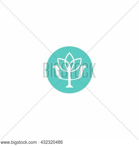 Psychology Blooming Symbol. Greek Letter Psi With Lotus Flower In Blue Circle. Neuropsychology. Psyc