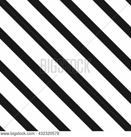 Diagonal Seamless Texture With Black Lines On White Background. Vector Illustration. Line Diagonal P