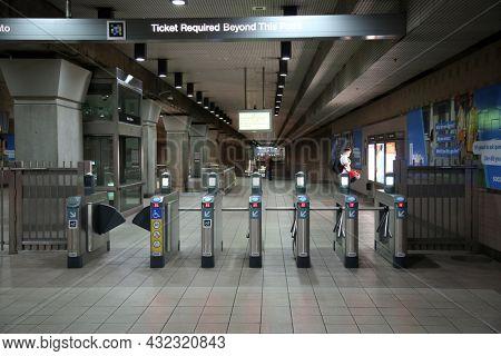 August 27, 2021 Los Angeles California: Subway in Los Angeles, California, USA. Subway Entrance Turnstiles.
