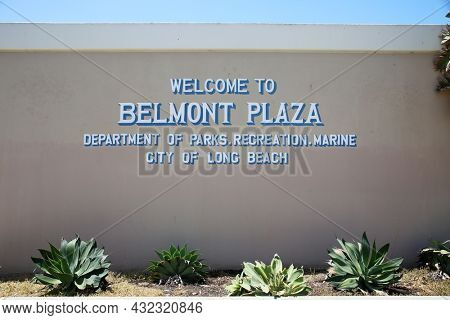 August 27, 2021 Belmont Shores, California: Welcome to Belmont Plaza Department of Parks and Recreations Marine. City of Long Beach. Sign on the side of a city building.
