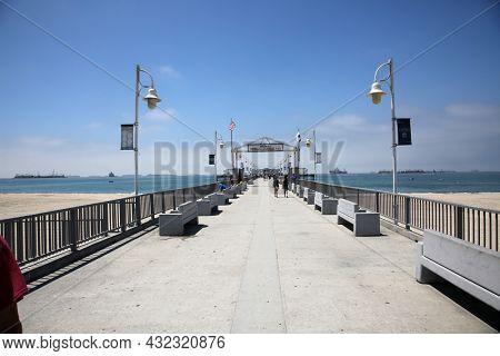 LONG BEACH, CALIFORNIA - July 5, 2021: The Belmont Veterans Memorial Pier.