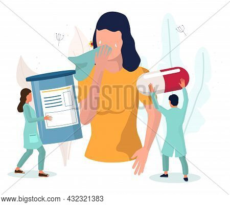 Woman Suffering From Runny Nose, Watery Eyes, Cough, Vector Illustration. Anaphylaxis. Allergy Sympt