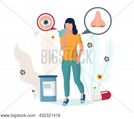 Woman Suffering From Sneezing, Runny Nose, Red Itchy Watery Eyes, Vector Illustration. Seasonal Poll