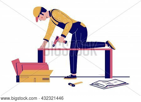 Furniture Assembly. Handyman, Furniture Collector Assembling Closet, Cupboard Using Hand Drill Tool,