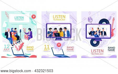 Set Of Illustrations About Musicians Performing Live Music In Studio For Podcasts. Music Bands Recor