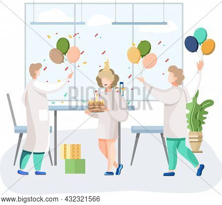 Birthday Party In Hospital, Fun Entertainment In Medical Office. Doctors Organize Holiday Congratula