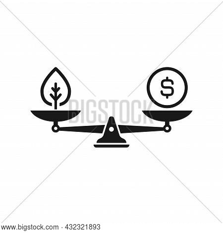Mechanical Scales With Leaf And Dollar Coin In Pans. Ecology Law And Costs Balance. Business And Cus