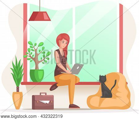 Female Freelancer, Student Sitting At Home With Laptop. Working From Home Office. Young Woman Sittin