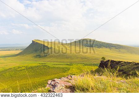 Summer Landscape Of The Sunduki Mountain Range Located In The Valley Of The Bely Iyus River In Khaka