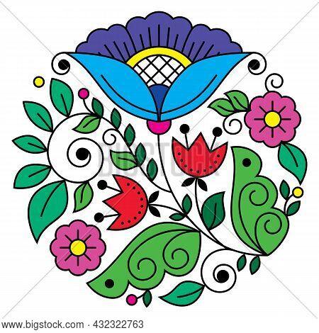 Scandinavian Folk Art Flower Vector Round Design Pattern, Retro Floral Design In Circle Inspired By