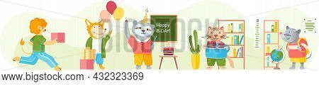 Happy Birthday Party At Home With Friends. Company Of Cartoon Animals Celebrates Holiday With Cake A