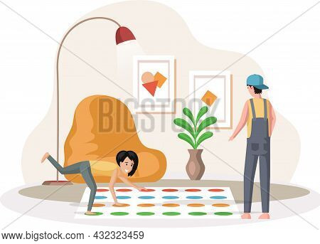 Father And Daughter Playing Twister Game. Man And Woman Happy Family In Everyday Life At Home. Young
