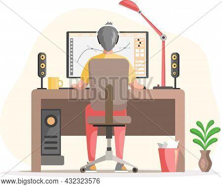 Graphic Designer Creating His Artwork Using Computer Software And Lising Music. Digital Artist, Illu