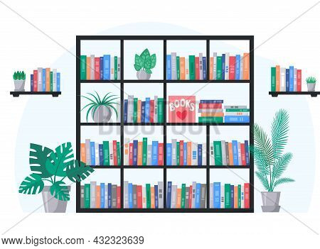 Bookcase And Book Shelves With Collection Of Colorful Books. Interior With Home Plants. Vector